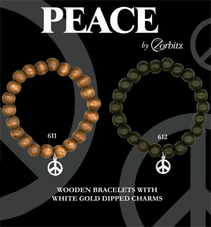 Peace wooden bracelets with white gold dipped charms