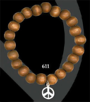 White Gold Dipped Peace - Brown Wood(611)