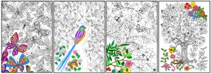 Joy of Coloring ( 11x17) 4 pack Enchanted Gardens