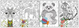 Joy of Coloring ( 11x17) 4 pack Artistic Animals