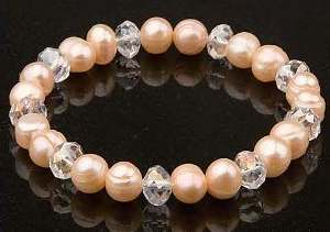 Pink Pearls with White Crystal